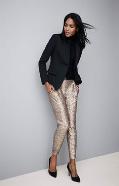 Work pair classic black tailored pieces like a blazer and black heels with the sequin ankle pants ANN TAYLOR