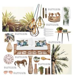 Tropical Green by chocolatecupcakes545 on Polyvore featuring polyvore interior interiors interior design Zuhause home decor interior decorating Serena & Lily mater Pier 1 Imports WALL LAFCO Dolce&Gabbana Blowfish Ray-Ban Urban Decay L'Oréal Paris New Look white GREEN brown palms tropicalprints
