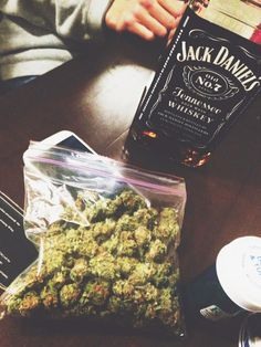 A bag of weed and a bottle of jack
