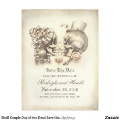 Skull Couple Day of the Dead Save the Date