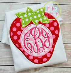 Strawberry Monogram Applique Design 4x4 5x7 and by TheItch2Stitch