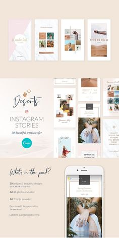 Deserts - Stylish & sophisticated designs to bring your photos to life. Tell your stories & share your journeys with our professionally crafted templates, designed to make it easy to create eye-catching Instagram Stories for your brand in seconds. Features 30 unique & beautiful designs All 48 photos included All 7 fonts provided Pixel-perfect Instagram Story templates - 1080x1920 Easy to edit templates with fully customizable text, images & icons #instagram #Story #template Photoshop Book, Facebook Engagement Posts, Instagram Creator, Image Icon, Graphic Design Templates, Canvas Designs, Cover Letter Template, Instagram Story Template, Instagram Ideas
