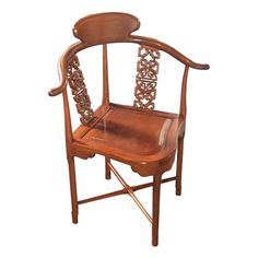 Asian Style Carved Wood Corner Chair
