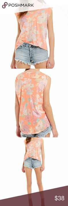 Free People Gardenia Printed Hi-Low Tee Details  From Free People, this tee features: Scoop neckline. Cap sleeves. Hi-low hemline. Pullover construction. Polyester/rayon/cotton. Machine wash. Color: orange Free People Tops Tees - Short Sleeve