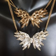 Hot & Palace restoring ancient ways drip hollow out butterfly necklace Silver and Gold Plated