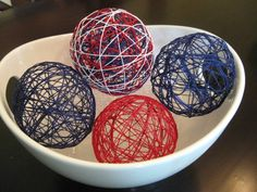 Patriotic Decorative String Balls Craft for Memorial Day or Fourth of July. Great craft for rainy days and restless kids. Americana Crafts, Patriotic Crafts, July Crafts, Holiday Crafts, Christmas Diy, Summer Crafts, Christmas Ornament, Holiday Ideas, Ornaments