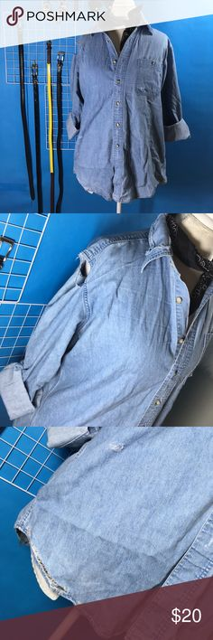 Nasty gal after party distressed chambray - large Worn once. Light weight chambray distressed. Y nasty gal in their after party vintage rework collection. Fits true to size if not a bit big. Great to throw in over a tee or tank or even wear as oversized shirt dress. Nasty Gal Tops Button Down Shirts