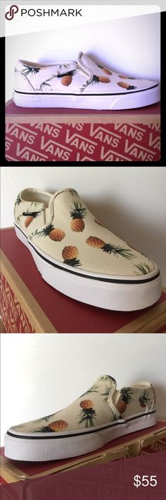 BRAND NEW Vans Asher Pineapple Print!!! These just might be the RADDEST pair of shoes in my closet right now!!! These hard to find Vans Asher slip-ons feature Pineapple  Print throughout, cotton/canvas upper, padded insole for comfort, and gum outsole for the SHRED!!! Women's size 7 Vans Shoes Sneakers