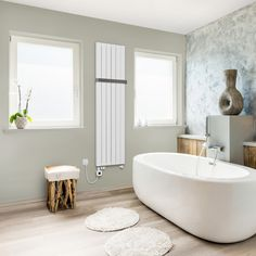 Velmi oblíbené vertikální designové těleso Collom nově také ve verzi Collom Uni pro kombinované a elektrické vytápění. Na výběr možnost osazení základní topnou tyčí nebo elektrickou tyčí s regulátorem Mini PW, Whistle nebo Stone. Barvu regulátoru je možné vybrat v barevném provedení bílá nebo chrom. Těleso je možné doplnit až o dvě madla z leštěného či kartáčovaného nerezu. Bathroom Radiators, Designer Radiator, Clawfoot Bathtub