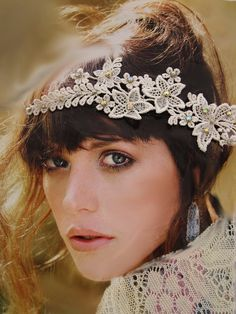 Bridal Headband, Ivory floral lace headband, wedding headband,  bridal accessory tiara wedding hair piece halo bohemian headband boho Bridal Comb, Wedding Headband, Bridal Headpieces, Bridal Makeup Tips, Indian Bridal Makeup, Loose Hairstyles, Wedding Hairstyles, Lace Headbands, Bridal Headbands