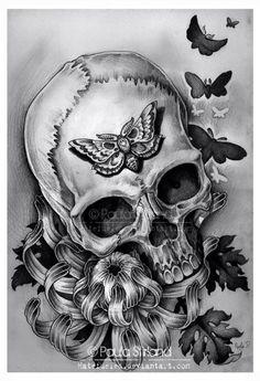 Skull by ~hatefueled on deviantART Charlie Immer- translucent bubbly genius Creative Boys Club Skull Tattoos, Cool Tattoos, Wrist Tattoos, Tatoos, Dibujos Tattoo, Totenkopf Tattoos, Skull Artwork, Skull Drawings, Drawn Art