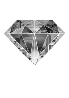 Diamond. Print in black, gray and white. Photographs cropped into geometric shapes form a diamondlike image.
