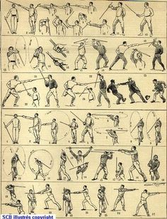 A classic poster of Le Canne de combat and Le Baton further arts under the umbrella of Savate disciplines. These are even rarer to see than Boxe Francaise itself and closely resemble fencing and. Martial Arts Styles, Martial Arts Techniques, Self Defense Martial Arts, Martial Arts Training, Lightsaber Fighting Styles, Savate Boxe Française, Thai Boxe, Historical European Martial Arts, Stick Fight