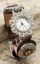 Blazin Roxx Women's Brown Faux Leather with Floral Crystals & Studs Watch