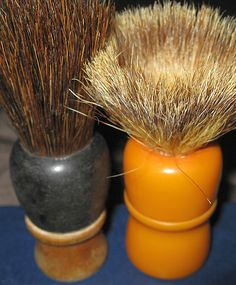 Vintage shaving brushes before restoration Shaving Brush, Shaving Cream, 2 Bits, Shaved Hair Cuts, Musical Hair, Straight Razor Shaving, Beard No Mustache, Barber Shop, Brushes
