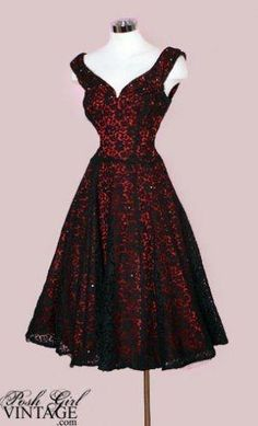 Stunning 1950's red dress with black lace overlay! by Wirth, L