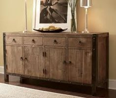 Reclaimed wood furniture with modern accents - perfect with Devon.