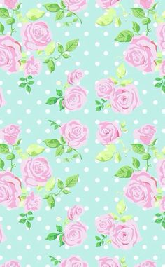 Mint vintage floral dots phone iphone wallpaper background: