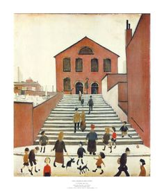 Old Church and Steps - L S Lowry Medici Print Underwater Painting, Printable Pictures, Reading Art, Poster Prints, Art Prints, Cool Posters, Art Reproductions, Fine Art Paper, Watercolor Art