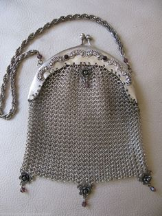 Antique Purple Amethyst Jeweled Floral Filigree Frame Silver T Chain Mail Purse #EveningBag