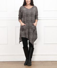 Another great find on #zulily! Brown Plaid Handkerchief Dress - Plus #zulilyfinds