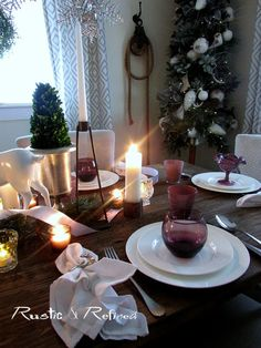 Quick and casual Christmas Tablescape for entertaining family and friends. Christmas Tablescapes, Table Settings, Entertaining, Rustic, Holidays, Table Decorations, Furniture, Home Decor, Christmas Tables