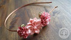 Dusty Rose & Aster Ribbon Flower Metal Headband by Corinne Jade