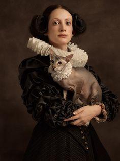 GOLDBERGER Sacha ~ portrait with animals - Flemish painting