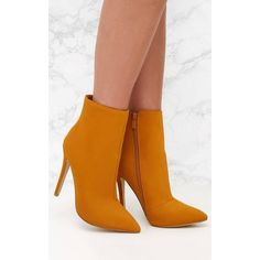 Mustard Heeled Point Ankle Boot (185 RON) ❤ liked on Polyvore featuring shoes, boots, ankle booties, yellow, yellow ankle boots, pointed-toe ankle boots, pointy booties, yellow stilettos and pointed booties