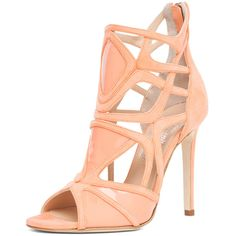Alejandro Ingelmo Odessy Geometric Open Toe Bootie in Coral ($1,350) ❤ liked on Polyvore