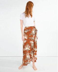 2016 Women Stream Bow Waist Floral Print Skirt New Women High Waist Chiffon Maxi Skirt Asymmetrical Hem Femme Orange s m l