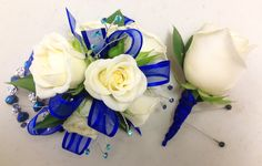 Royal Blue and Cream are stunning in this corsage with keepsake bracelet. Blue Corsage, Wrist Corsage, Bracelet Corsage, Flower Corsage, Blue Boutonniere, Prom Corsage And Boutonniere, Corsages, Boutonnieres, Crosage Prom