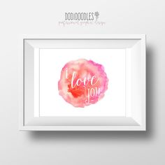 I Love You Print 8x10 print and ship Watercolor by dodidoodles