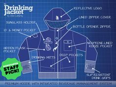 The Drinking Jacket by Zane Lamprey with bottle opener zipper, neoprene koozie pocket, drinking gloves, hidden flask pocket, and sunglass holder. WANT!