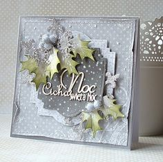 card christmas holly leaves berries berry ice frozen colour tone Dorota_mk: Cicha noc...