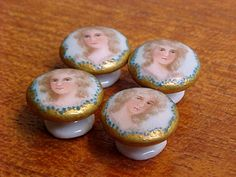 Set of 4 Antique 19th C Hand Painted Porcelain Buttons French or English | eBay