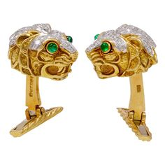 DAVID WEBB Diamond Lion Cufflinks | From a unique collection of vintage cufflinks at https://www.1stdibs.com/jewelry/cufflinks/cufflinks/
