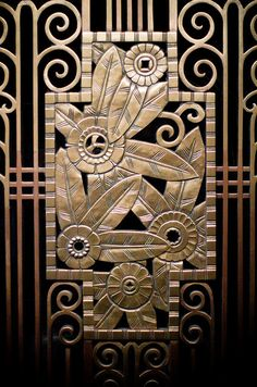 Art Deco flower metalwork, detail