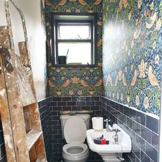 Both me and the babe been ill so the loo has been stuck like this all week. Hopefully will be able to crack on this weekend. William Morris Wallpaper, Bathrooms, Babe, Dining Room, Mirror, Grey, Instagram, Home Decor, Gray