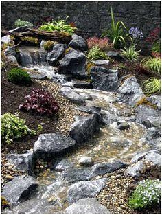 Beautiful Stream Beautiful Stream - Water features in the garden - Backyard Stream, Garden Stream, Backyard Water Feature, Ponds Backyard, Water Garden, Backyard Waterfalls, Garden Ponds, Koi Ponds, Pond Landscaping