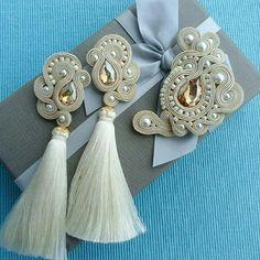 Denim Earrings, Beaded Tassel Earrings, Soutache Earrings, Cute Earrings, Bead Earrings, Fashion Earrings, Earrings Handmade, Bridal Jewellery Inspiration, Bridal Jewelry