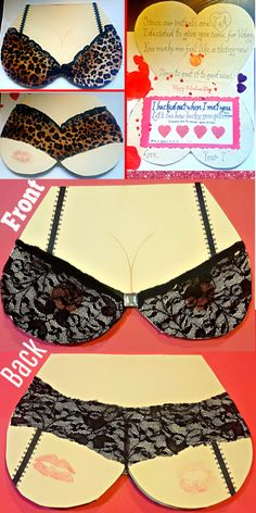 Easy DIY Lingerie Valentine's Day Card for him with DIY lotto scratchers, looks store bought. Spritz with perfume. Perfect for a long distance relationship, Anniversary, or even Birthday. Traditional Anniversary Gifts, Unique Anniversary Gifts, Wedding Anniversary, Lingerie Valentines Day, Valentines Day Gifts For Him, Diy Gifts For Him, Presents For Him, Celtic Love Knot, Diy Bra