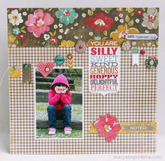 #papercraft #scrapbook #layout  Unforgettable collection by My Minds Eye maryannjenkins.com