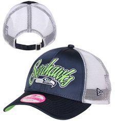 New Era Seattle Seahawks Ladies 9FORTY Scripty Satin Adjustable Trucker Hat - Navy Blue/White