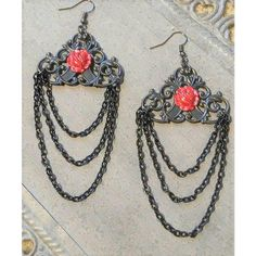 OOAK Red Roses Earrings Jewelry Black Beauty And The Beast Long... ($24) ❤ liked on Polyvore featuring jewelry, earrings, red rose, red earrings, lace earrings, dangle earrings, red chandelier earrings and red rose earrings