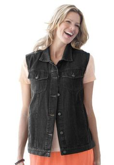 Woman Within Plus Size Versatile Denim Vest Woman Within. $29.99