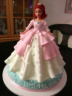 Fondant Disney Ariel ( The little mermaid) Style Pink and White Doll Cake