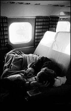 """Dennis Stock USA. 1955. James DEAN flying back to California for the shooting of """"Rebel Without a Cause."""""""