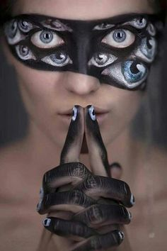 An eye mask — not the soothing kind. | 33 Totally Creepy Makeup Looks To Try This Halloween