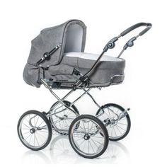 Hesba Corrado Kinderwagen in grau mit großen Reifen, Prams And Pushchairs, Baby Prams, Baby Carriage, Having A Baby, Baby Gear, Vintage Silver, Baby Car Seats, Cute Babies, Baby Strollers